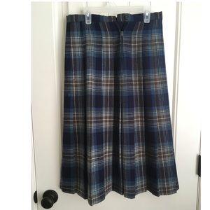 Tartan Blue Plaid Pleated Skirt